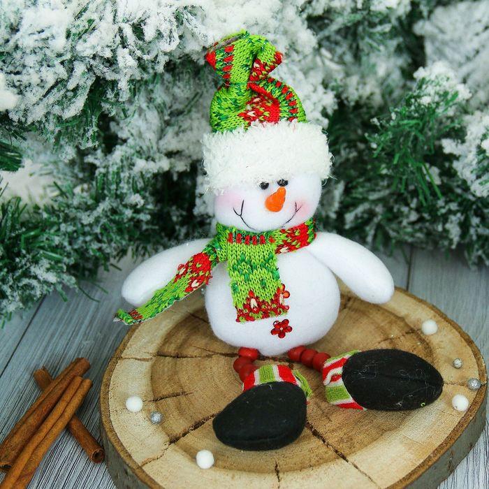 "Мягкая игрушка ""Снеговик"" ножки бусинки 6*19 см"