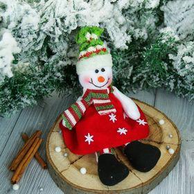 """Мягкая игрушка """"Снеговик в платье со снежинками"""" 9*25 см"""