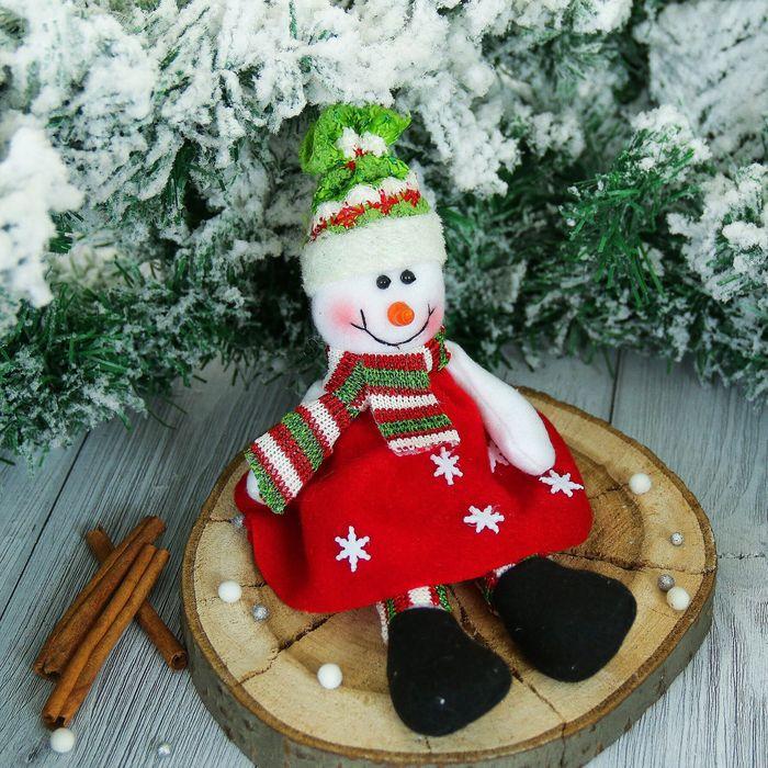 """Мягкая игрушка """"Снеговик"""" в платьишке 9*25 см"""