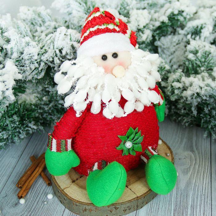"""Мягкая игрушка """"Дед Мороз"""" с цветочком, красный 15*22 см"""