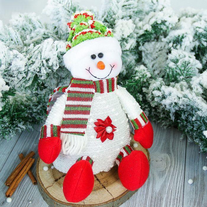 """Мягкая игрушка """"Снеговик"""" с цветочком, белый 13*25 см"""