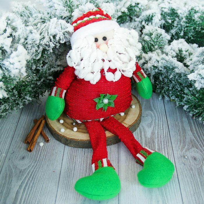"""Мягкая игрушка """"Дед Мороз"""" с цветочком, красный 14*50 см"""