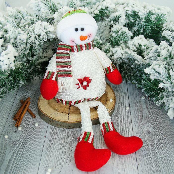 """Мягкая игрушка """"Снеговик"""" с цветочком, белый 14*50 см"""