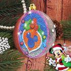 """Новогодний шар с фреской С Новым годом!"""" Микки Маус + песок, блестки, стека, стразы"""