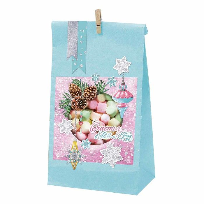 Пакет подарочный без ручек с декором «Счастья в Новом Году», 15 × 28 см