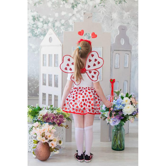 Карнавальный набор «Сердечки», крылья, ободок, юбка, жезл, 3-5 лет - фото 105446181