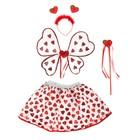 Карнавальный набор «Сердечки», крылья, ободок, юбка, жезл, 3-5 лет - фото 105446183