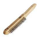 Щетка SANTOOL 3-рядная металлическая с деревянной ручкой