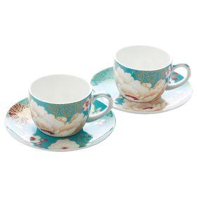 """Набор: 2 чашки с блюдцами """"Кимоно"""", бирюза, в подарочной упаковке"""