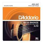 Струны для акустической гитары D`Addario EJ10 BRONZE 80/20  бронза Extra Light 10-47
