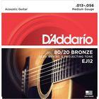 Струны для акустической гитары D`Addario EJ12 BRONZE 80/20  бронза Medium 13-56