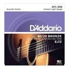 Струны для акустической гитары D`Addario EJ13 BRONZE 80/20  бронза Custom Light 11-52