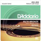 Струны для акустической гитары D`Addario EZ920 AMERICAN BRONZE 85/15  Medium Light 12-54