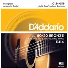 Струны для акустической гитары D`Addario EJ14 Bronze 80/20 , 12-56, Light Top/Medium