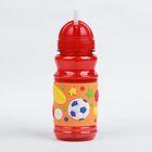 Поильник детский с трубочкой «Футбол», 380 мл, от 9 мес., цвет оранжевый - фото 105490055