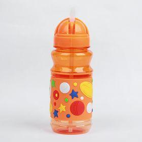 Поильник детский с трубочкой «Звёзды», 380 мл, от 9 мес., цвет оранжевый