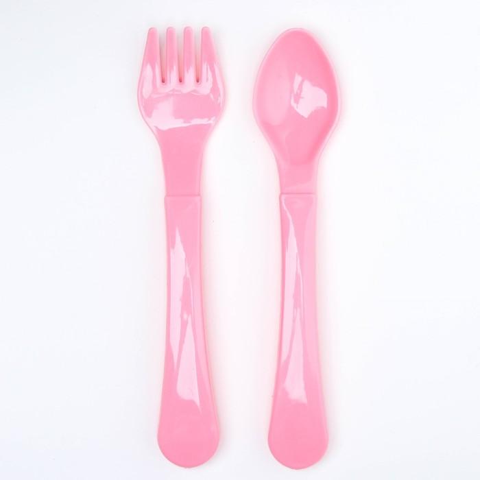 Набор столовых приборов для кормления, 2 предмета: ложка, вилка, от 5 мес., цвета МИКС