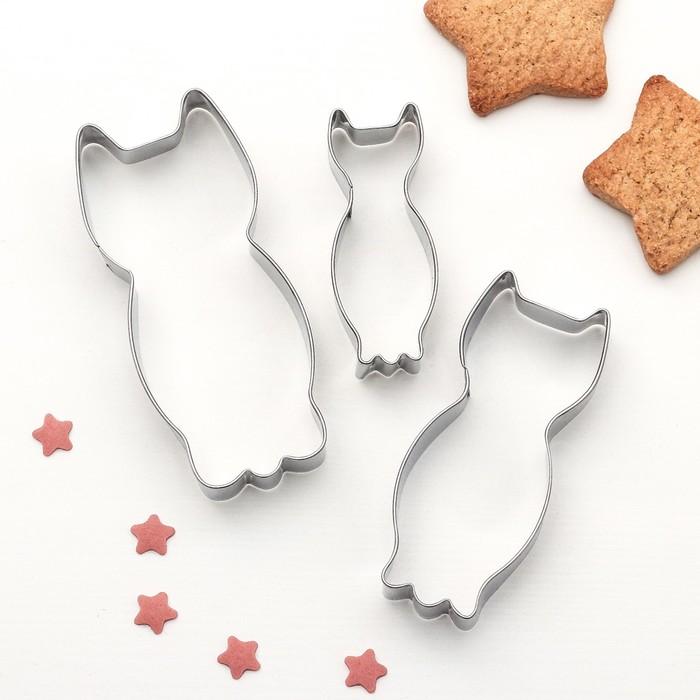 """Набор форм для вырезания печенья """"Котик"""", 3 шт - фото 308034427"""