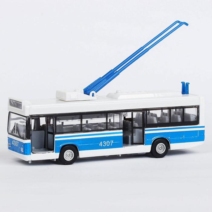 Машина металлическая инерционная «Троллейбус», открывающиеся двери - фото 1742701
