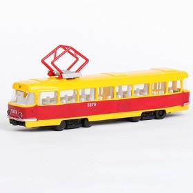 Машина металлическая «Трамвай», световые и звуковые эффекты, открываются двери, инерционная, 18 см