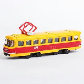 Трамвай металлический, инерционный, двери открываются, 16,5 см