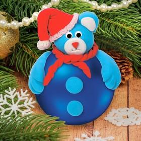 """Новогодний ёлочный шар с массой для лепки """"Мишка"""""""