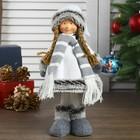 """Кукла интерьерная """"Девочка в белом платье и полосатом шарфике"""" 41 см"""