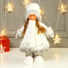 """Кукла интерьерная """"Девочка в вязаном платье и белом шарфике"""" 31 см"""