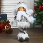 """Кукла интерьерная """"Ангел-девочка в чёрно-белой шубке стоит"""" 37 см"""