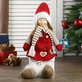 """Кукла интерьерная """"Девочка в красном колпаке и полосатом шарфике"""" 57 см"""