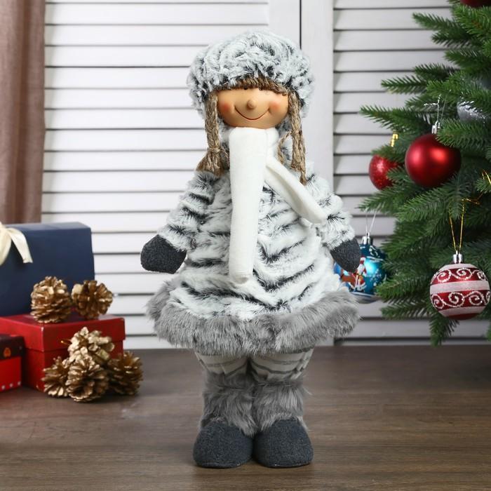 """Кукла интерьерная """"Девочка в серой шубке и шапке"""" 34 см"""