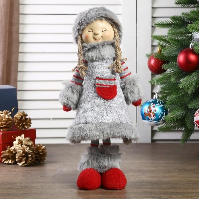 """Кукла интерьерная """"Девочка в сером платьице с меховой отделкой"""" 46 см"""