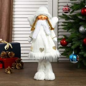 """Interior doll """"angel-girl in white dress with hearts"""" of 50 cm"""