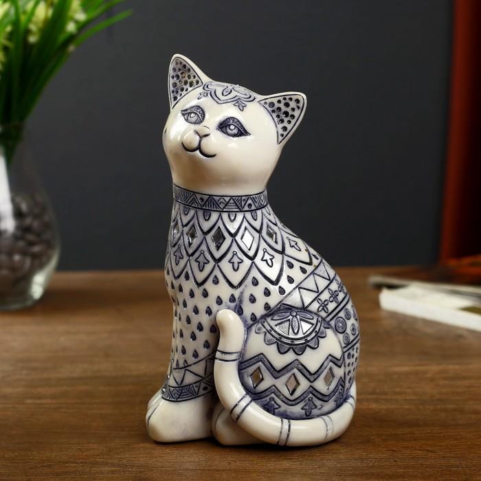 """Сувенир полистоун зеркальные вставки """"Белая расписанная синим кошка"""" 20,5х8,5х11,5 см - фото 797852790"""