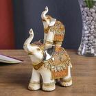"""Сувенир полистоун """"Слон и слонёнок в ажурной попоне с зеркальными вставками"""" 21,5х14х7,5 см"""
