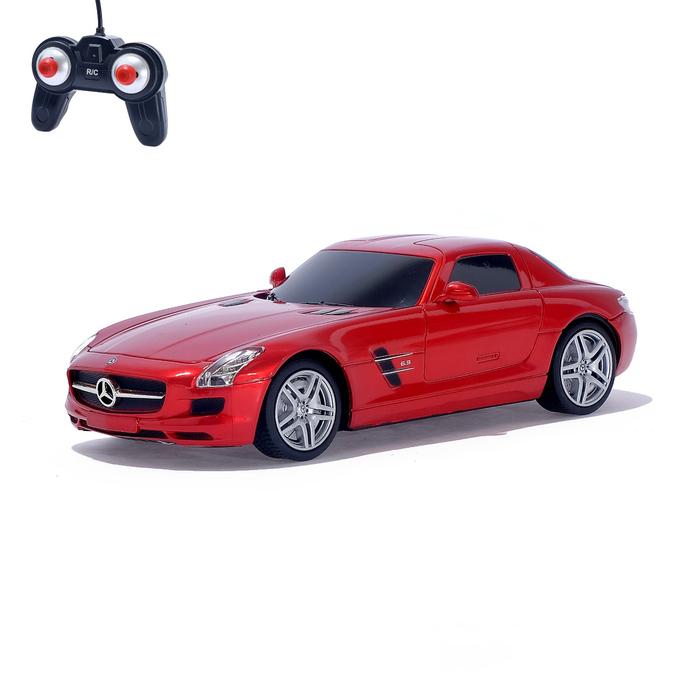 Машина радиоуправляемая Mercedes-Benz SLS AMG, масштаб 1:24, работает от батареек, свет , цвет красный, MZ 27046 - фото 687208892