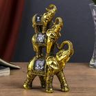 """Сувенир полистоун зеркальные вставки """"Пирамида из 3 слонов"""" 20,5х11,5х6 см"""