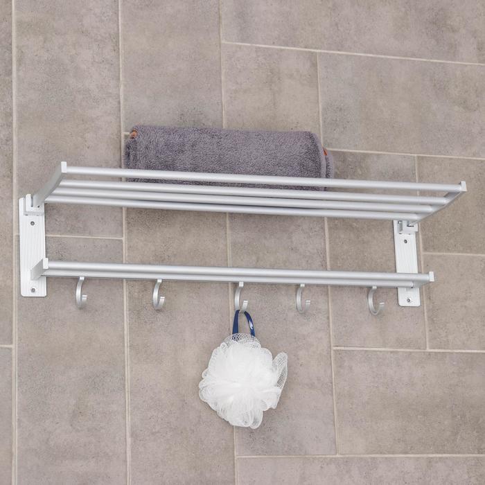 Полка откидная с держателем полотенец, 5 крючков, 57×19×15 см, цвет серый