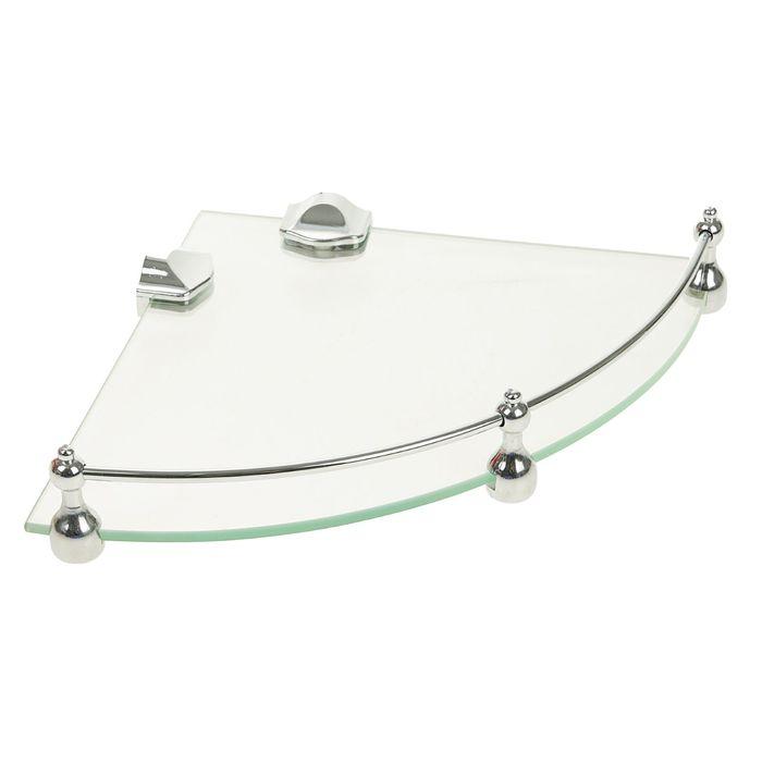 Полка угловая для ванной комнаты, металл, стекло