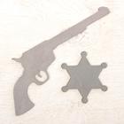 Ковбойский пистолет 21 × 15 см, со значком, серебро