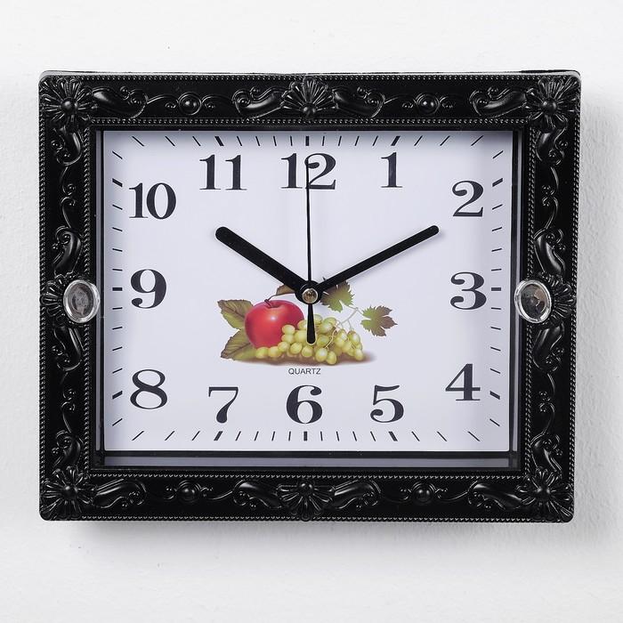 """Часы настенные, серия: Классика, """"Брилл"""", чёрные, сюжетные, микс, 21х18 см, дискретный ход,"""
