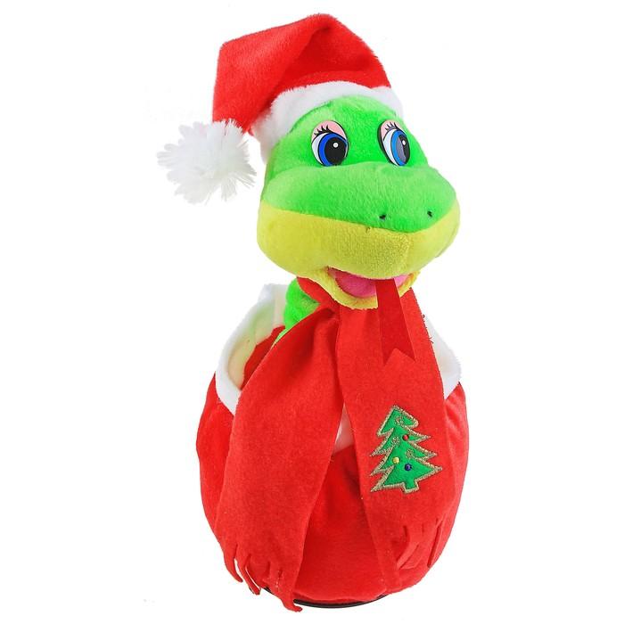"""Мягкая игрушка интерактивная """"Змея"""" в новогодней шапке, на шарфе вышита елка, цвета МИКС"""