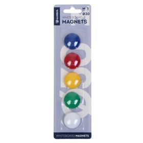 Магниты для досок 30 мм, 5 штук, GLOBUS цветные, в блистере