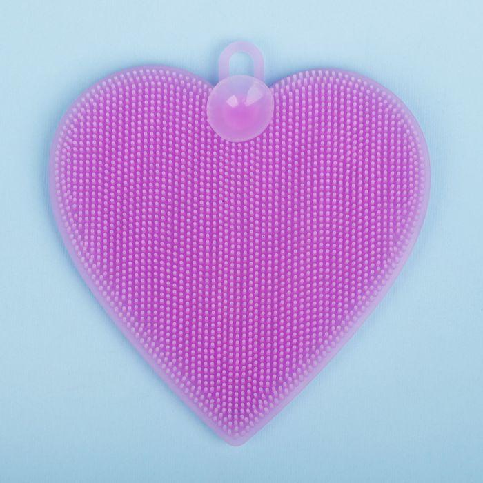 Мочалка детская для купания силиконовая «Сердечко», от 6 мес., цвета МИКС
