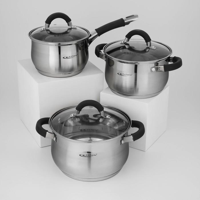 Набор посуды «Ирида», 3 шт: кастрюли 2,9 л, 3,9 л, ковш 1,9 л, капсульное дно
