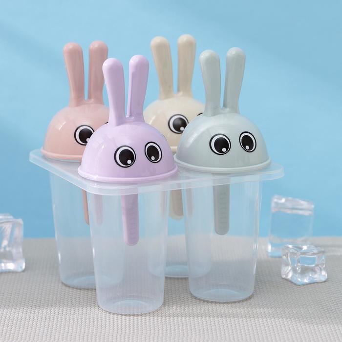 """Форма для мороженого """"Зайчики"""" 4 ячейки, цвета МИКС"""