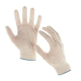 Перчатки, х/б, вязка 10 класс, 3 нити, размер 9, без покрытия, белые