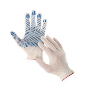 Перчатки, х/б, вязка 10 класс, 3 нити, размер 9, с ПВХ точками, белые