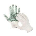 Перчатки, х/б, вязка 10 класс, 4 нити, размер 9, с ПВХ протектором, белые, Greengo