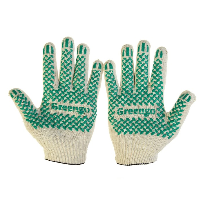 Gloves, cotton, knitting 10th grade, 4 threads, size 9, with PVC tread, white, Greengo
